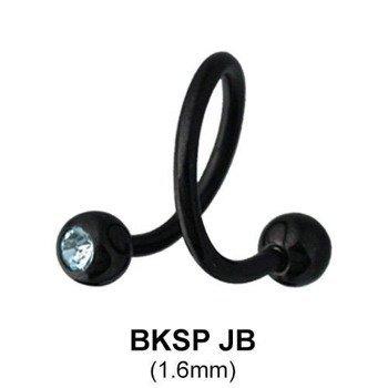 kolczyk do brwi/wargi  BODY SPIRAL BLACK LINE CRYSTAL OCZKA 1,6/5mm
