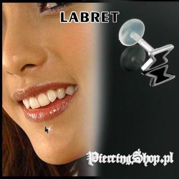 KOLCZYK DO BRODY LABRET(bioplast) BŁYSKAWICA kolor oczka CZARNY [LA-158]