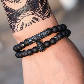 bransoletka LION BLACK, zestaw 2 bransoletki