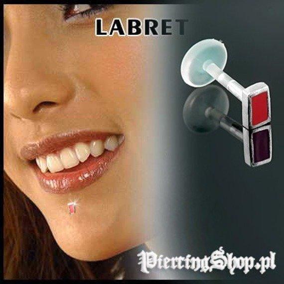 KOLCZYK DO BRODY LABRET(bioplast) PROSTOKĄT kolor oczka CZERWONY [LA-158]